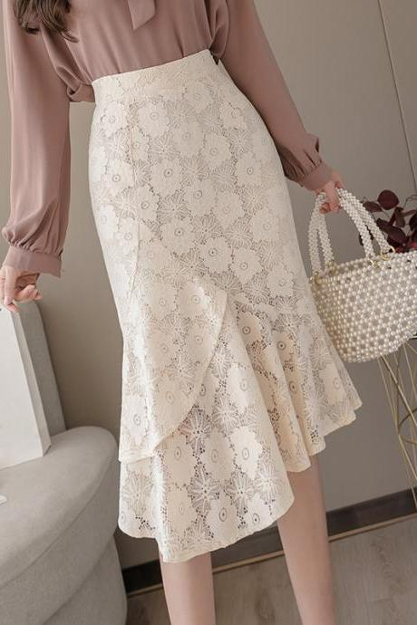 Spring and summer new style, long flounces, slim lace bodycon skirt