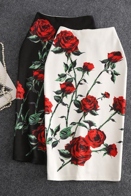 Classic, rose printed skirt, mid length slit, bodycon skirt