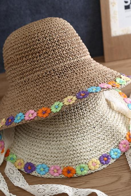 Summer new straw hat, parent-child travel sunscreen hat, breathable handmade sunshade hat, mother and daughter hat
