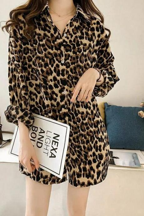 Spring new style, fashion, loose, large size, leopard print shirt, long sleeve top, midi shirt