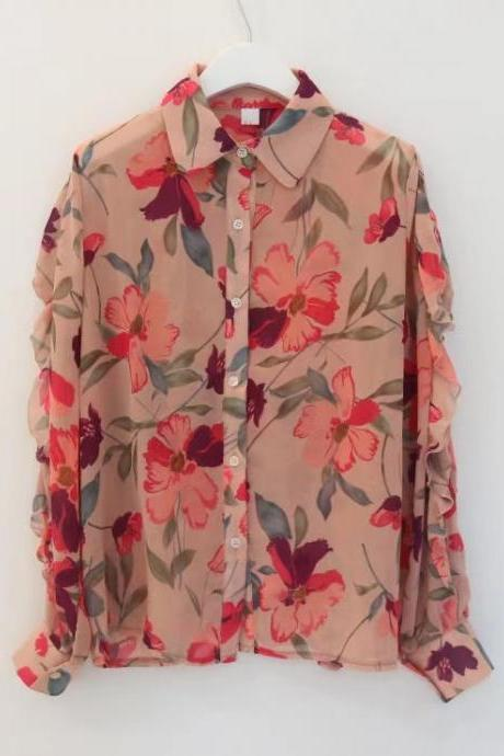 Light luxury floral chiffon shirt, thin simple long-sleeve blouse