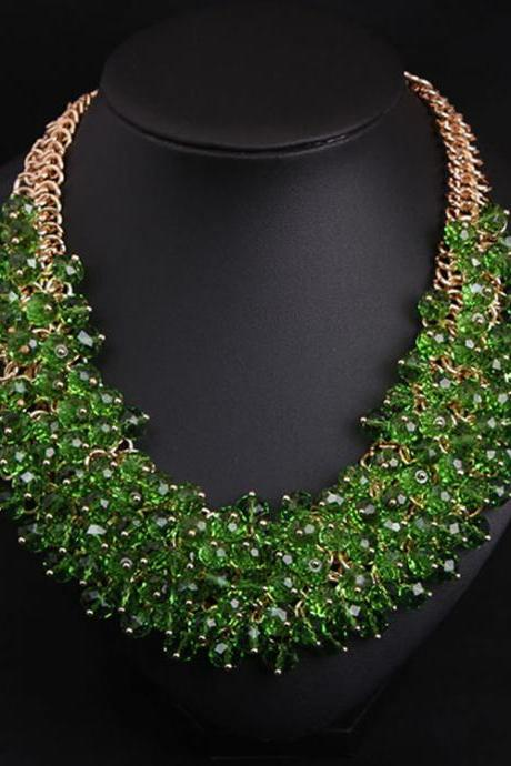 All handmade crystal glass, multi-layer short collarbone, heavy industry necklace, fashion exaggerated brand accessories