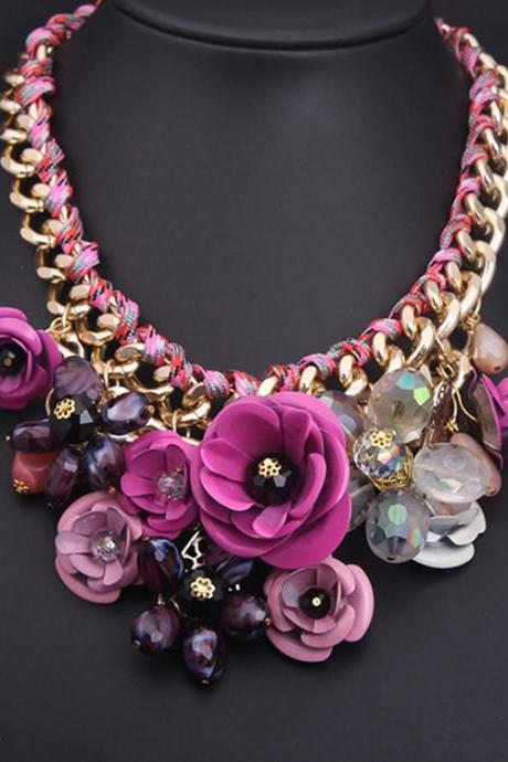 Colorful flowers, gemstone pendant, cotton cord necklace, short collarbone exaggerated woman accessories