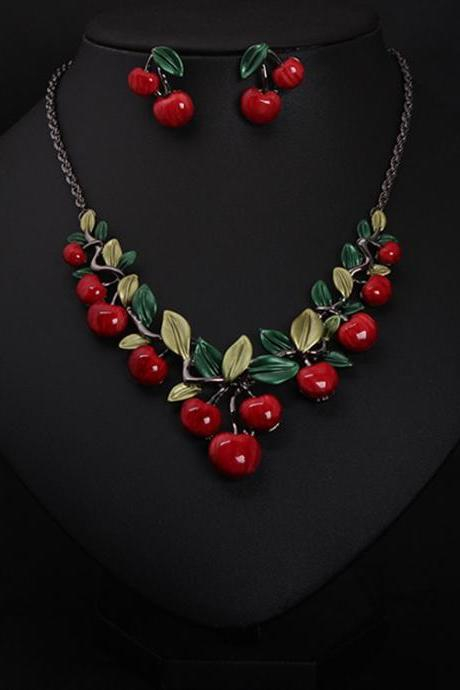 Cherry necklace earrings jewelry set, evening dress fashion lady exaggerated accessories, wholesale