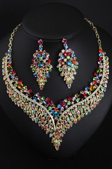 Exhilarated full diamond collarbone necklace, earring set, dress accessories, wholesale