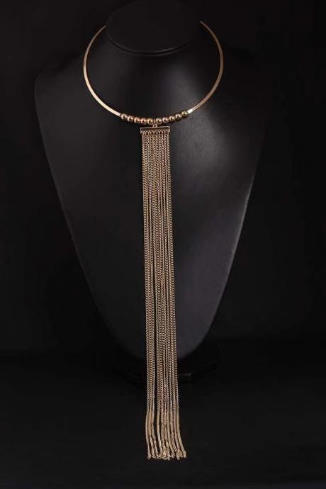 Gold long tassel collar, exaggerated necklace, women's clothing accessories, wholesale manufacturers