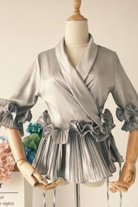 Pleated chiffon, v-neck blouse, ruffled shirt with flounces,kimonos top