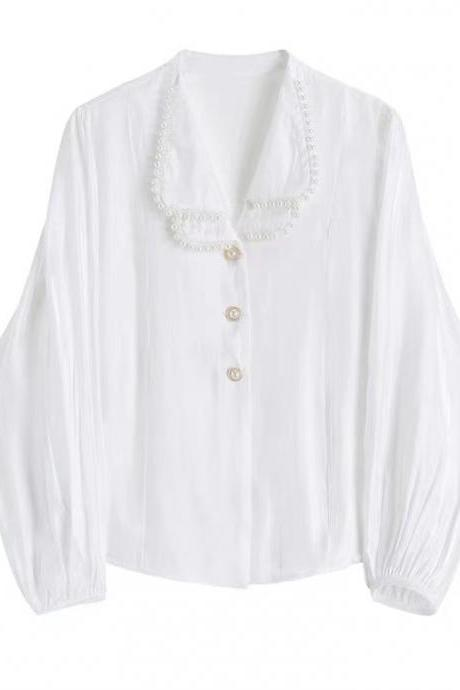 White shirt, vintage lantern sleeve top, delicate with pearls