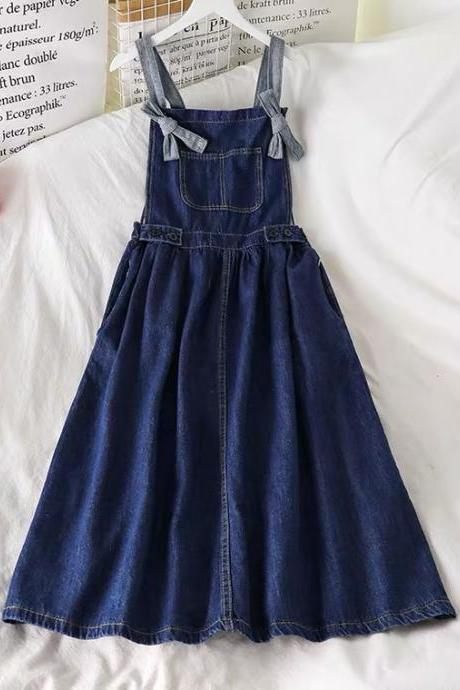 New summer style, young denim straps dress, loose dress