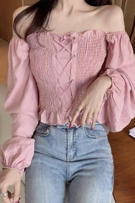 Square collar chiffon shirt, new spring style, short bubble sleeve long sleeve blouse