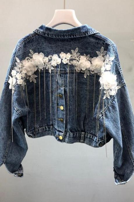 New. heavy nail beads, three-dimensional flowers, tassel small chain, slit denim jacket