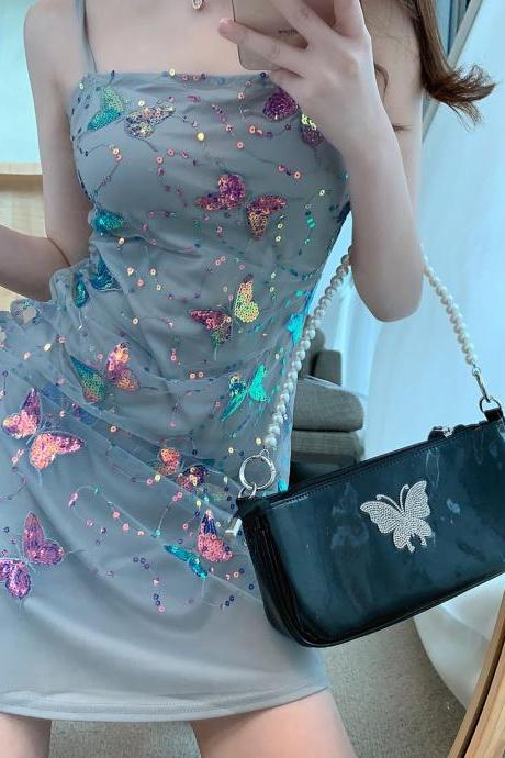 Spaghetti strap fairy dress, sparkly butterfly sequins dress