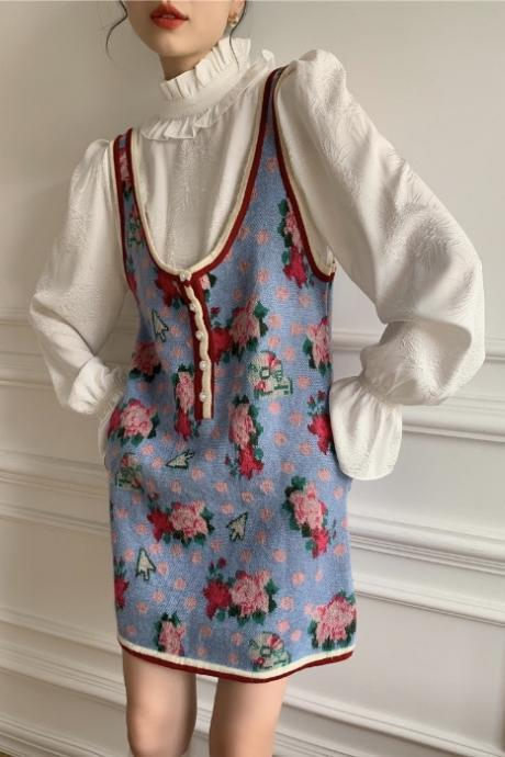 Vintage Rose Print Wool Dress, Spring and Winter ,Large Size Sleeveless Vest Dress, Christmas Festive Dress