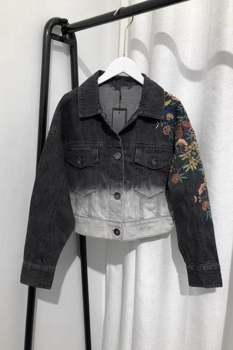 Spring and autumn style, personality gradient embroidered flower ,short denim jacket, long sleeve pocket jacket