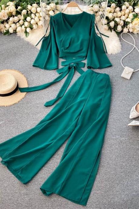 Spring vacation style suit, crop top short style + high waist wide leg pants chiffon, 2 pieces