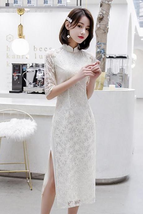 New,fashion, small and fresh, lace cheongsam dress, modern improvement, white cheongsam , bridesmaid dress,chinese style