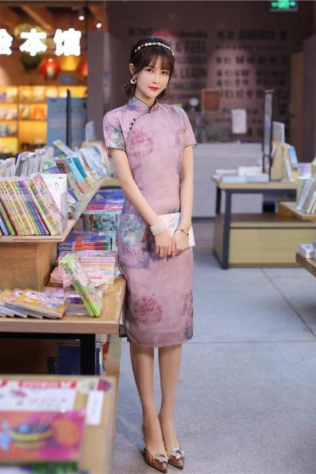 New, summer,linen cheongsam dress, light, thin and breathable, comfortable and long style improved cheongsam, Chinese style