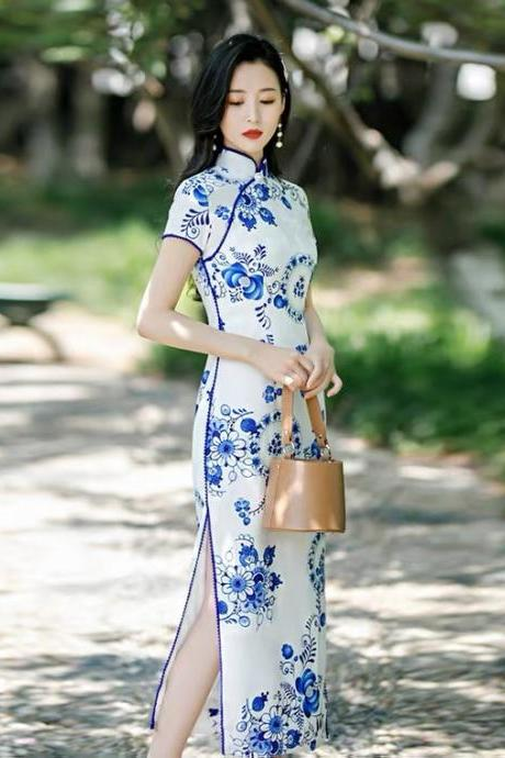 New, Blue and white porcelain cheongsam, pure and fresh elegant performance dress, high slit, short-sleeve runway cotton cheongsam ,Chinese style