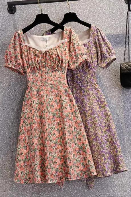 Summer, new style, small floral bubble sleeve dress,CHEAP ON SALE
