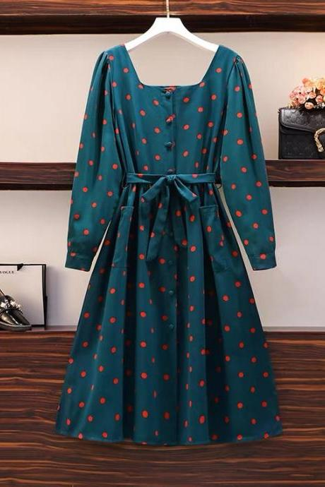 Spring, new, Hepburn style, belted polka dot dress