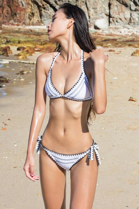 Unique, shark tooth handmade hook flower swimsuit, black and white tie, sexy poly bikini, embroidered bikini