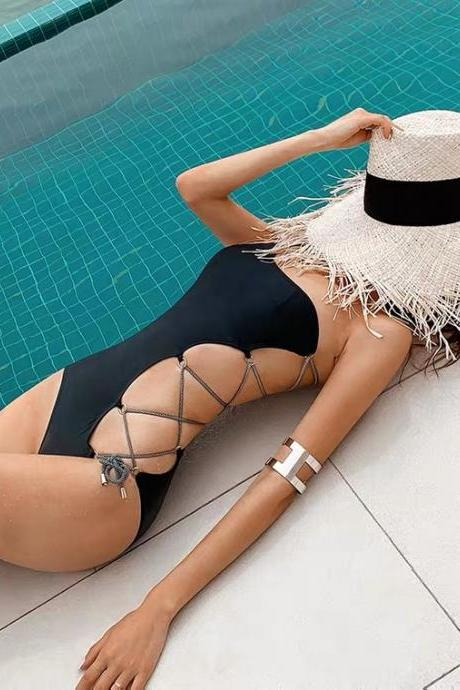 One-shoulder bikini, sexy swimsuit one-piece, tie up holiday swimsuit