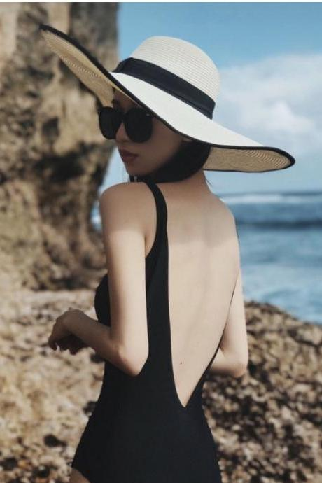 Black, simple, sexy, backless, cover belly triangle,V neck spa beach holiday swimming, installs one-piece swimsuit
