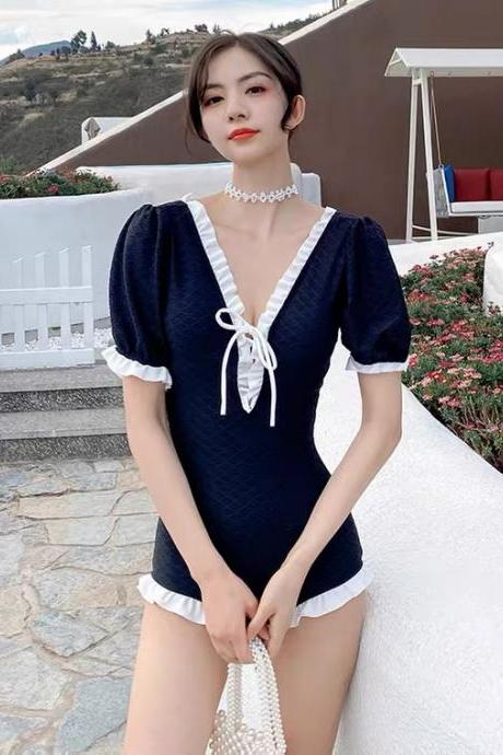 New style, short sleeve student one-piece swimsuit, cover belly gathering spa swimsuit