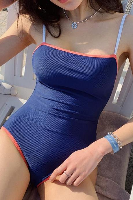 Student spaghetti strap swimsuit, new style, sexy one-piece swimming suit